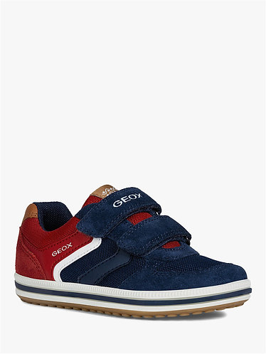 Geox Vita Riptape Trainers, Red/Navy