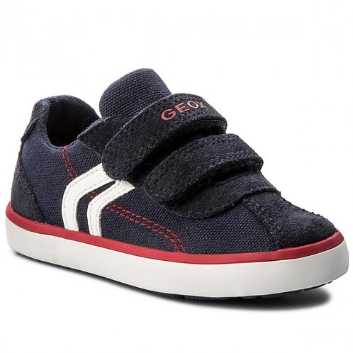 Geox Navy Red Kilwi Canvas Trainer Shoes