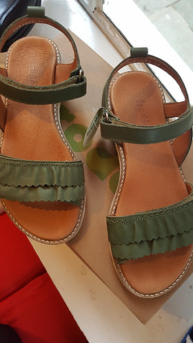 Froddo Dark Green Rip-Tape Sandal with White Sole