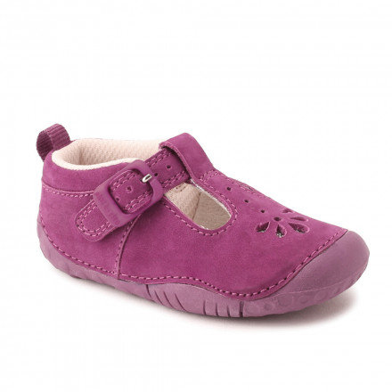 Baby Bubble, Berry Nubuck Girls T-bar Pre-walkers