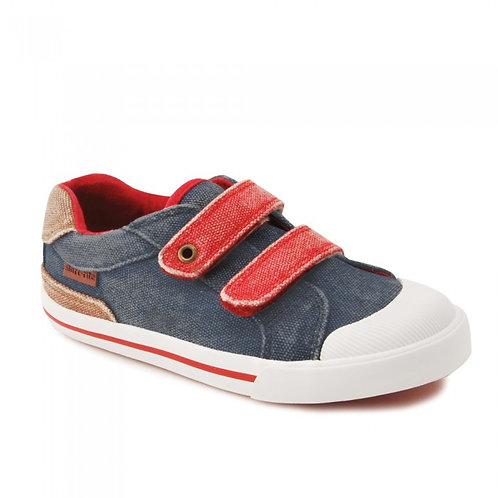 Start-rite Mason Navy/Red Canvas with Bumper Toe