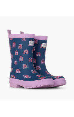 Hatley Rainbow Party Navy Welly