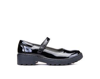 Geox Casey black patent school shoe