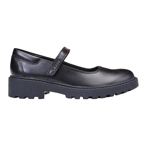 Geox Casey Black Leather Heeled Rip Tape School Shoe