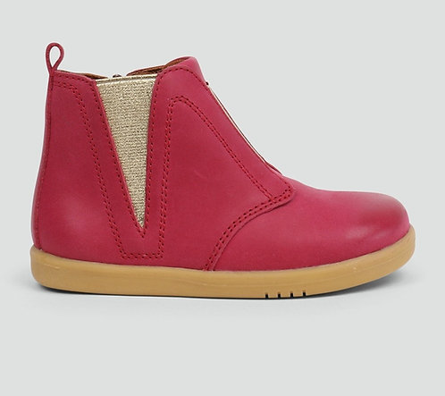 Bobux Pink Signet I Walk Short Leather Boots with Gold Detail