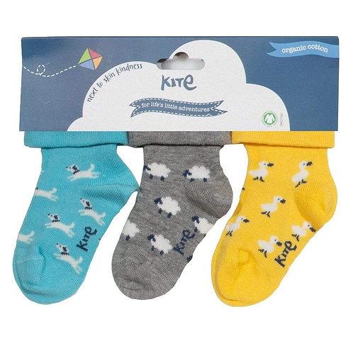 Kite 3 pack Duck/Sheep/Dog Socks