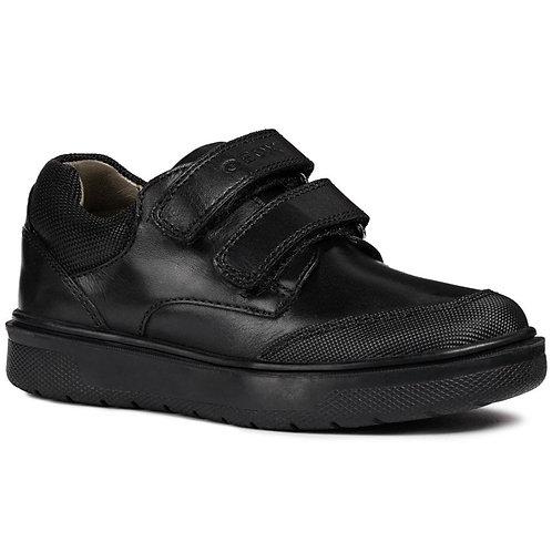 Geox Riddock Double Velcro Black Leather School Shoes