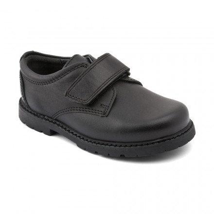 Start-rite Will, Black Leather Boys Riptape School Shoes