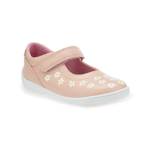 Start-rite Shine Pink Leather Rip-Tape First Walking Shoe