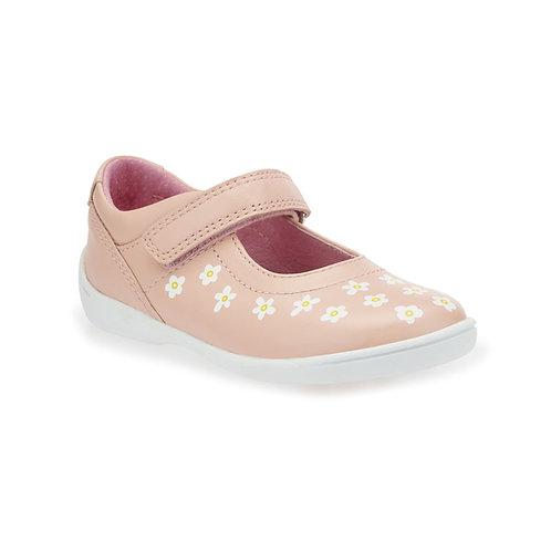 Start-rite Shine Pink Leather Rip-Tape First Walking Shoe