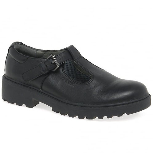 GEOX Casey T-Bar Buckle School Shoe with Chunky Sole
