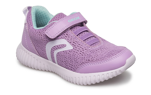 Geox Lilac Waviness Rip-Tape Trainer with Elasticated Lace-Up Design