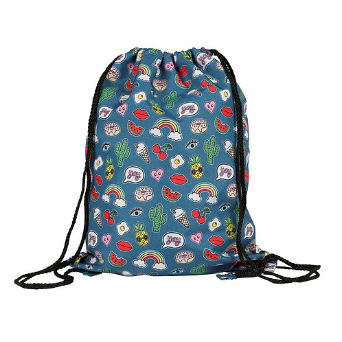 Sass and Belle Patches and Pins Drawstring Bag