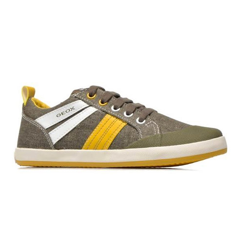 Geox Military Green Yellow Lace Up Canvas Trainer