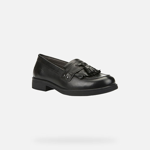 Geox Agata Black Leather Loafer School Shoe