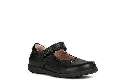 Geox Naimara black leather school shoe