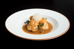 Pink shrimp Profiteroles & creamy bisque