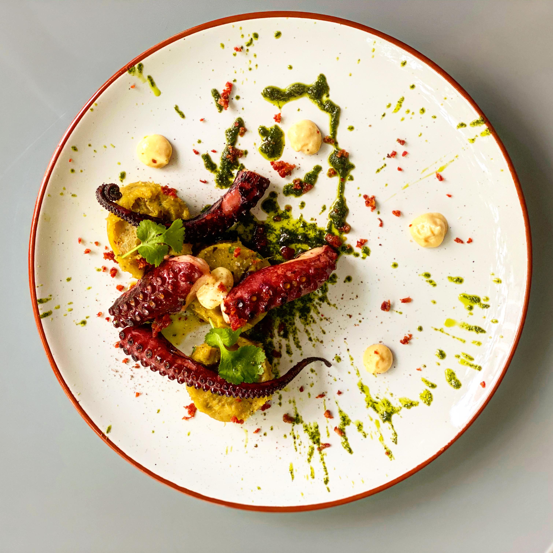 Grilled octopus, aioli mayonnaise, coriander pesto, chorizo crumbs and sweet potato purée