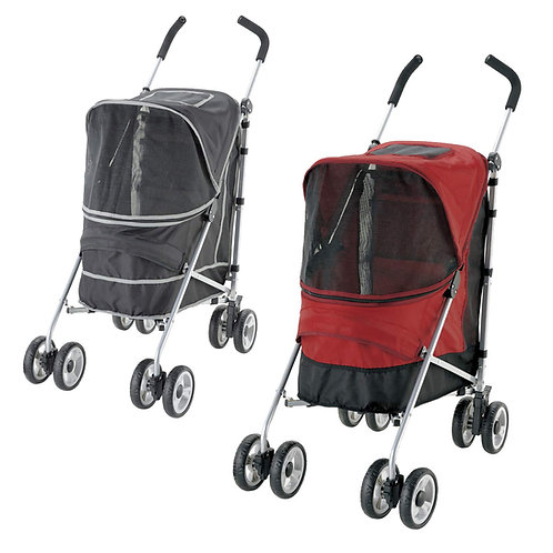 日本Richell PetBuggy可摺疊手推車 (黑色/紅色)