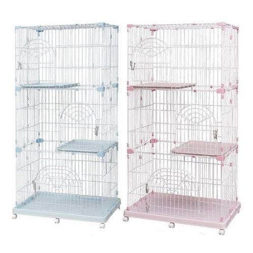 日本IRIS 豪華三層貓籠 (粉紅色/粉藍色)