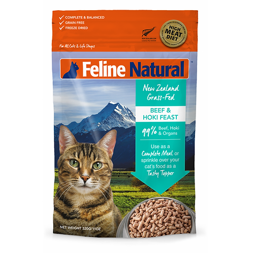 Feline Natural 無穀物脫水貓糧 - 牛肉鱈魚 320g