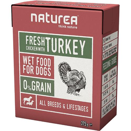 Naturea 無穀物鮮肉狗濕糧 - 雞肉火雞 375g