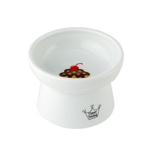 日本貓壹Necoichi貓貓高腳瓷食碗-蛋糕