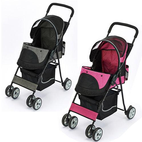 MARUKAN 輕量化摺疊寵物車 (粉紅色/灰色)