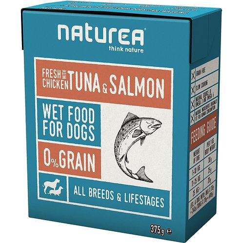 Naturea 無穀物鮮肉狗濕糧 - 雞肉吞拿魚三文魚 375g