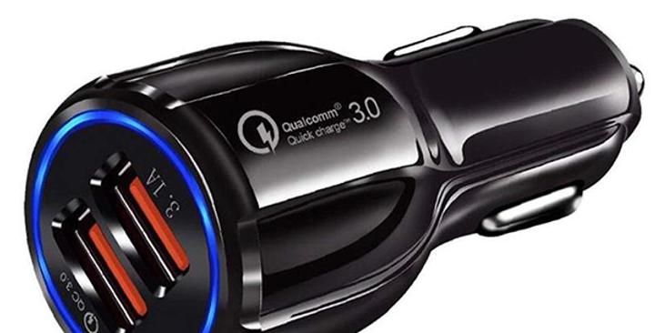 Chargeur voiture noir 2 ports USB