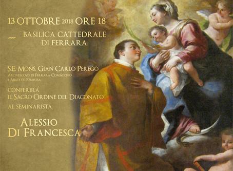 13 ottobre: Ordinazione diaconale in Duomo