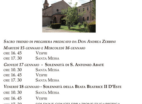 15-20 gennaio: solennità di S. Antonio Abate e Santi della casa d'Este