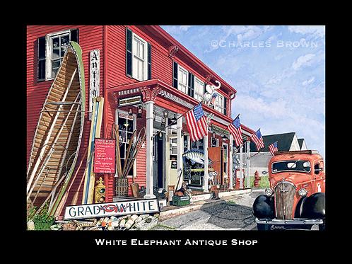 """White Elephant Antique Shop"" -  22 x 28 Framed Watercolor/Pen & Ink Original"