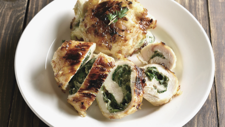 Spinach & Feta Rolled & Baked Chicken Breast Recipe.