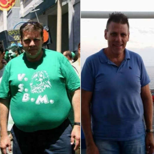 mature man looses weight and gains positive results.