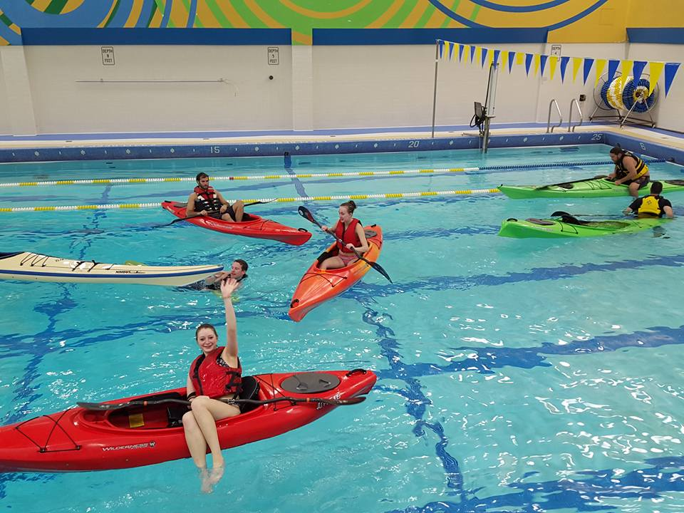 kayak training in the pool