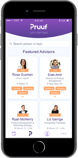 Pruuf microconsulting home screen