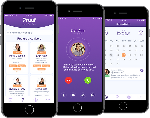 Pruuf Microconsulting App Screens