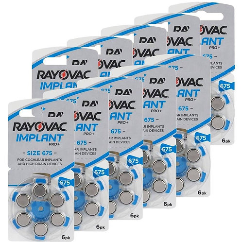 Rayovac Implant Pro +Cochlear Implant batteries (60 Pack)
