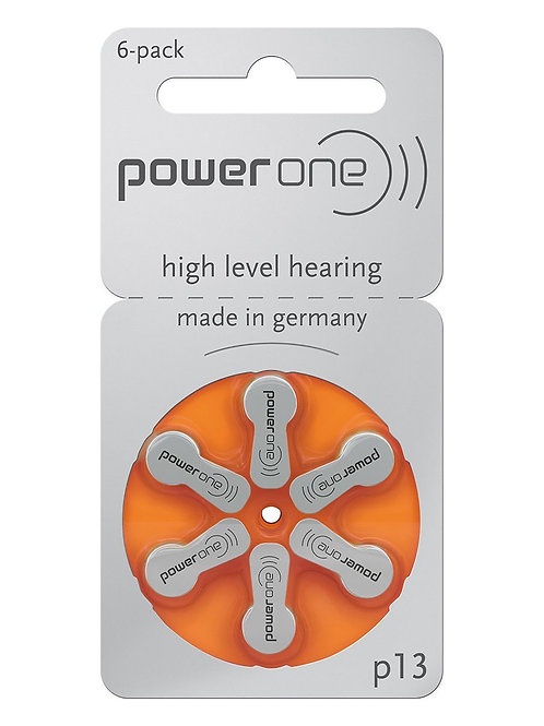 Power One Hearing Aid Batteries Size P13 (Orange)