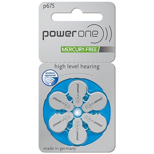 Power One Hearing Aid Batteries Size P675 (Blue)