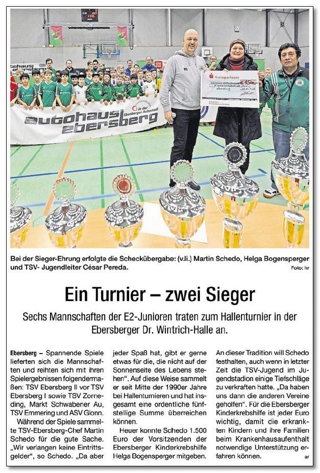 Der TSV Ebersberg sammelt 1.500,00 € für die Kinderkrebshilfe Ebersberg e.V.