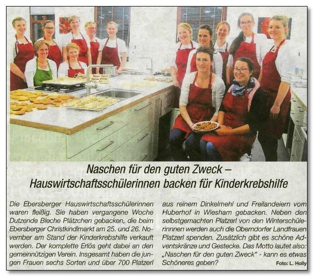 Hauswirtschaftsschülerinnen sowie Oberndorfer Landfrauen backen für die Kinderkrebshilfe Ebersberg e.V.