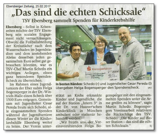 TSV Ebersberg sammelt tolle 1.500,00 € für die Kinderkrebshilfe Ebersberg e.V.
