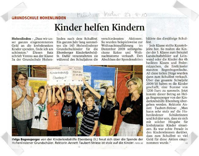 Grundschule Hohenlinden sammelt 1.200 €
