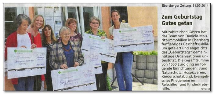 500,00 € für die Kinderkrebshilfe  Die Kinderkrebshilfe Ebersberg e.V. bedankt sich bei Frau Daniela Mauritz!
