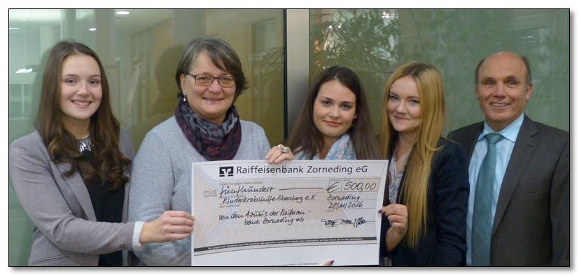 Gewinnspiel beschert der Kinderkrebshilfe Ebersberg e.V. tolle 500,00 €