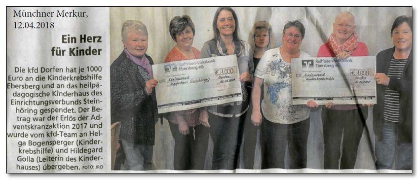 Die kfd Dorfen spendet 1.000,00 € an die Kinderkrebshilfe Ebersberg e.V.