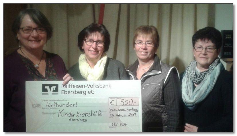 Weihnachtsbasar in Frauenneuharting - die Kinderkrebshilfe Ebersberg e.V. freut sich über 500,00 €