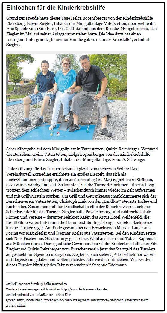 Benefiz-Minigolfturnier in Vaterstetten erbringt stolze Spende von 1.800 € zugunsten der Kinderkrebshilfe Ebersberg e.V.
